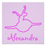 Pretty Personalised Neon Pink Ballerina Poster