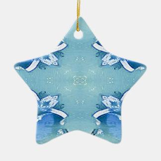 Pretty Personalizable Shades of Blues Ceramic Ornament