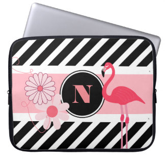 Pretty Personalized Flamingo Laptop Sleeve