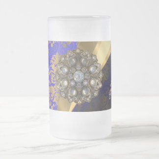 Pretty personalized girly blue damask pattern frosted glass beer mug