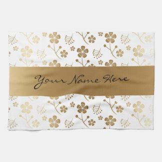 Pretty Personalized Golden Floral Pattern Tea Towel