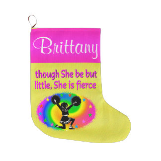PRETTY PERSONALIZED HOLIDAY CHEERLEADING STOCKING