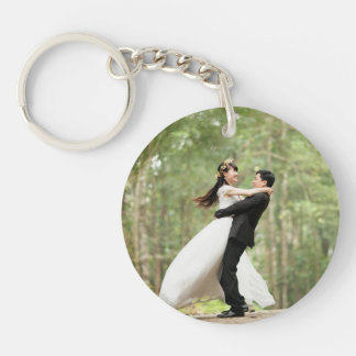 Pretty Personalized Mr & Mrs Wedding Photos Key Ring