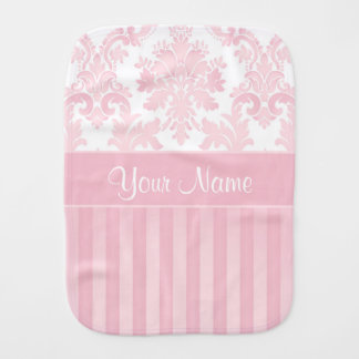 Pretty Personalized Pink Damask and Stripes Burp Cloth