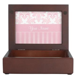 Pretty Personalized Pink Damask and Stripes Keepsake Box