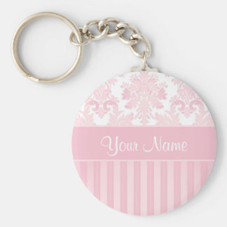 Pretty Personalized Pink Damask and Stripes Key Ring