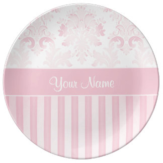 Pretty Personalized Pink Damask and Stripes Plate