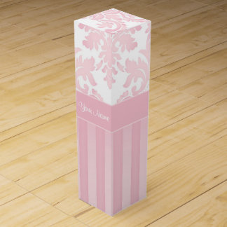 Pretty Personalized Pink Damask and Stripes Wine Gift Box