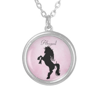 Pretty Personalized Rearing Silhouette Horse Silver Plated Necklace