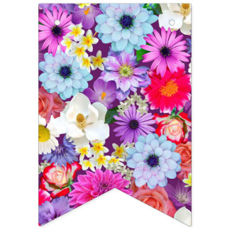 Pretty photo real floral bunting bunting