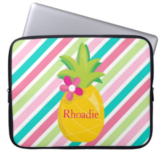 Pretty Pineapple with Stripes Laptop Sleeve
