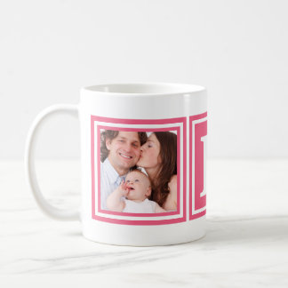 Pretty Pink 2 Photos with Large Monogram Basic White Mug
