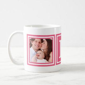 Pretty Pink 2 Photos with Large Monogram Coffee Mug