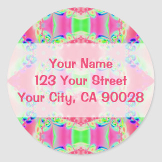 pretty pink abstract round sticker