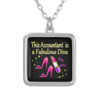 PRETTY PINK ACCOUNTANT DIVA DESIGN SILVER PLATED NECKLACE