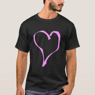 Pretty Pink and Black Love Heart. T-Shirt