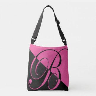 Pretty Pink and Black Monogram B Crossbody Bag
