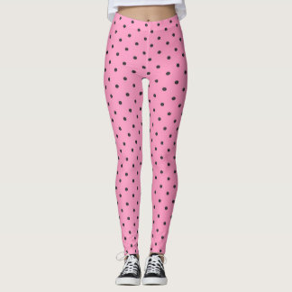 Pretty Pink and Black Polka Dots Leggings