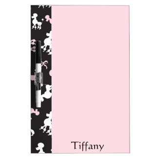 Pretty Pink and Black Poodle display Dry Erase Board