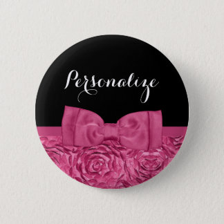 Pretty Pink and Black Rose Floral Chic Bow 6 Cm Round Badge