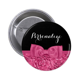 Pretty Pink and Black Rose Floral Chic Bow Pin