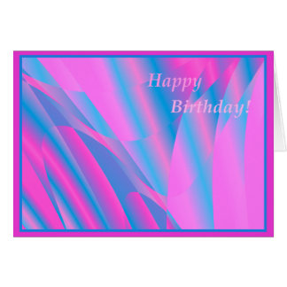 Pretty pink and blue abstract birthday card