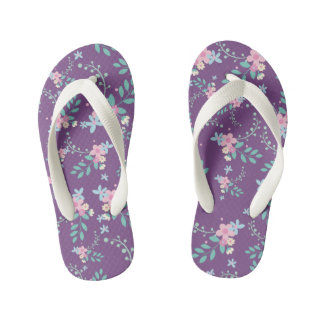 Pretty pink and blue flowers kid's thongs