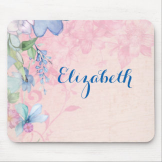 Pretty Pink and Blue Wildflowers Personalized Mouse Pad