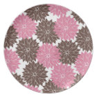 Pretty Pink and Brown Flower Blossoms Floral Print Plate