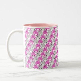 Pretty Pink and Clear Rhinestone Stripe Design Two-Tone Coffee Mug