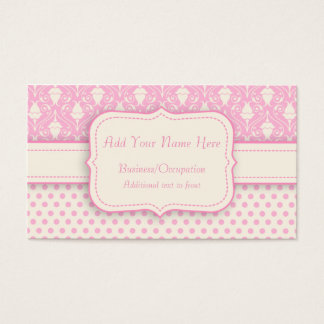 Pretty Pink and Cream Polka Dots & Damask Business Card