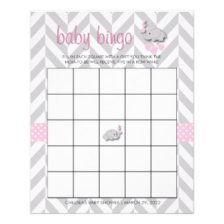Pretty Pink and Gray Elephant Baby Shower Bingo Flyer