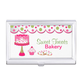 Pretty Pink and Green Bakery Business Card Holder