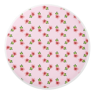 Pretty pink and green Floral Knob