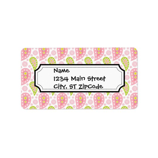 Pretty Pink and Green Paisley Pattern Address Label
