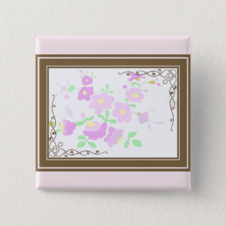 Pretty Pink And Mauve Flowers 15 Cm Square Badge