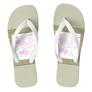 Pretty Pink And Mauve Flowers Thongs