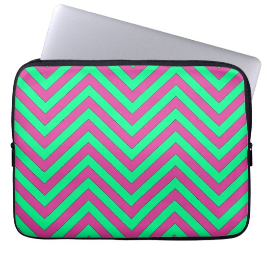 Pretty Pink and Minty Green Chevron Pattern Laptop Sleeve