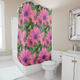 Pretty Pink And Orange Daisies Shower Curtain