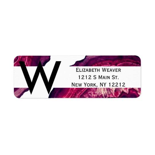 Pretty Pink and Purple Agate Geode Stone Return Address Label