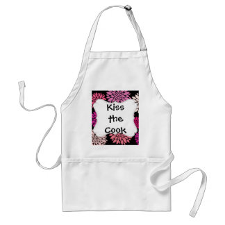 Pretty Pink and Purple Flowers on Black Standard Apron