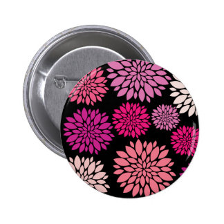 Pretty Pink and Purple Flowers on Black Pinback Button