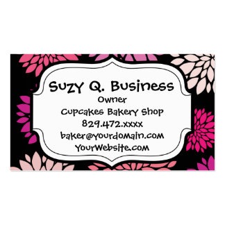 Pretty Pink and Purple Flowers on Black Business Card Template