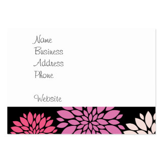 Pretty Pink and Purple Flowers on Black Business Cards