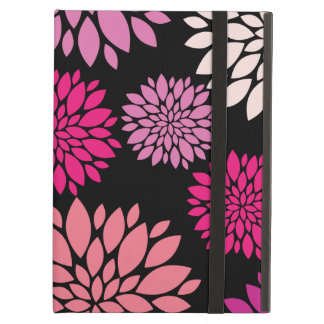 Pretty Pink and Purple Flowers on Black iPad Covers