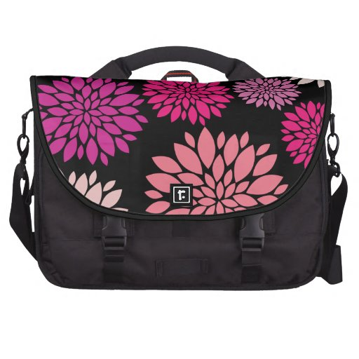 Pretty Pink and Purple Flowers on Black Commuter Bag