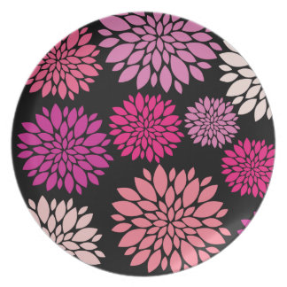 Pretty Pink and Purple Flowers on Black Dinner Plates