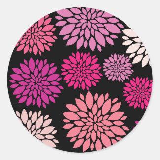 Pretty Pink and Purple Flowers on Black Round Sticker