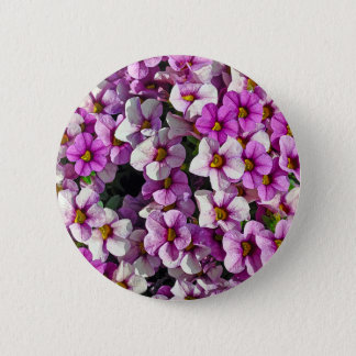 Pretty pink and purple petunias floral print 6 cm round badge