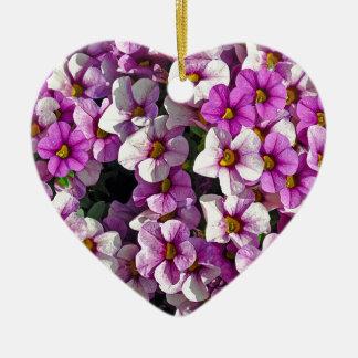 Pretty pink and purple petunias floral print ceramic ornament